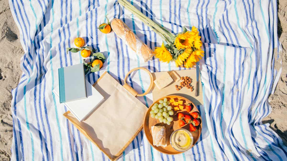 low sodium foods with fruit, cheese, hummus, and bread on a picnic blanket with flowers and books