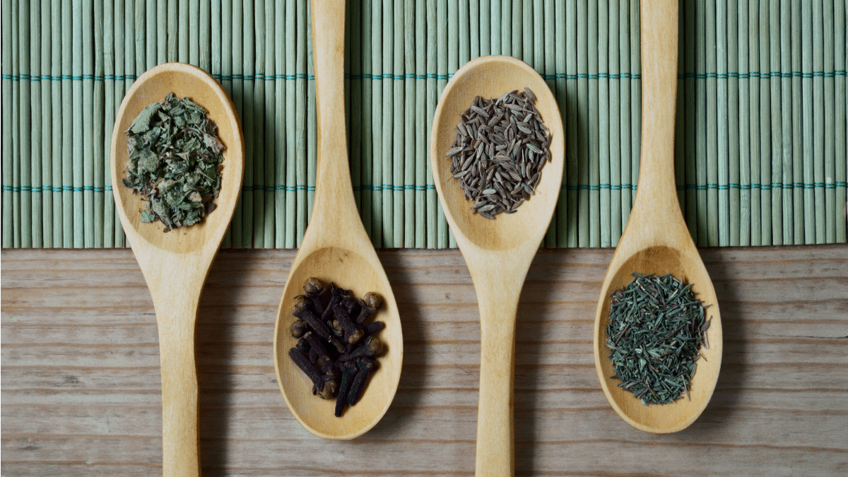 Spoons of top herbs for weight loss and health
