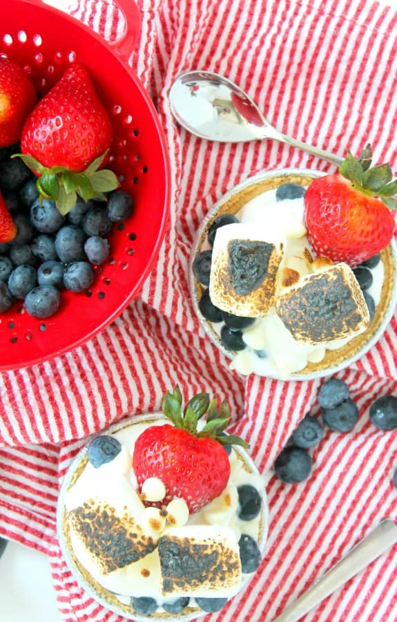 Mini Berry S'mores Sundaes for 4th of july