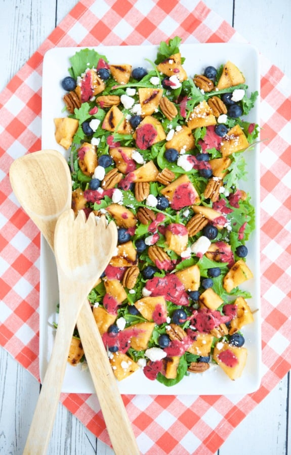 Grilled Cantaloupe Salad with Blueberry Ginger Vinaigrette