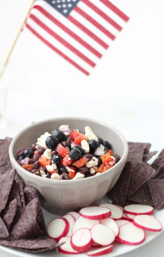 4th of july bean salsa with american flag