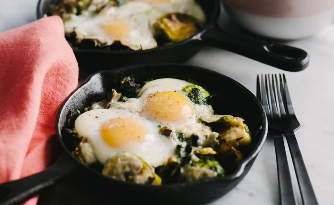 Baked Eggs with Brussels Sprouts, Spinach, and Leeks