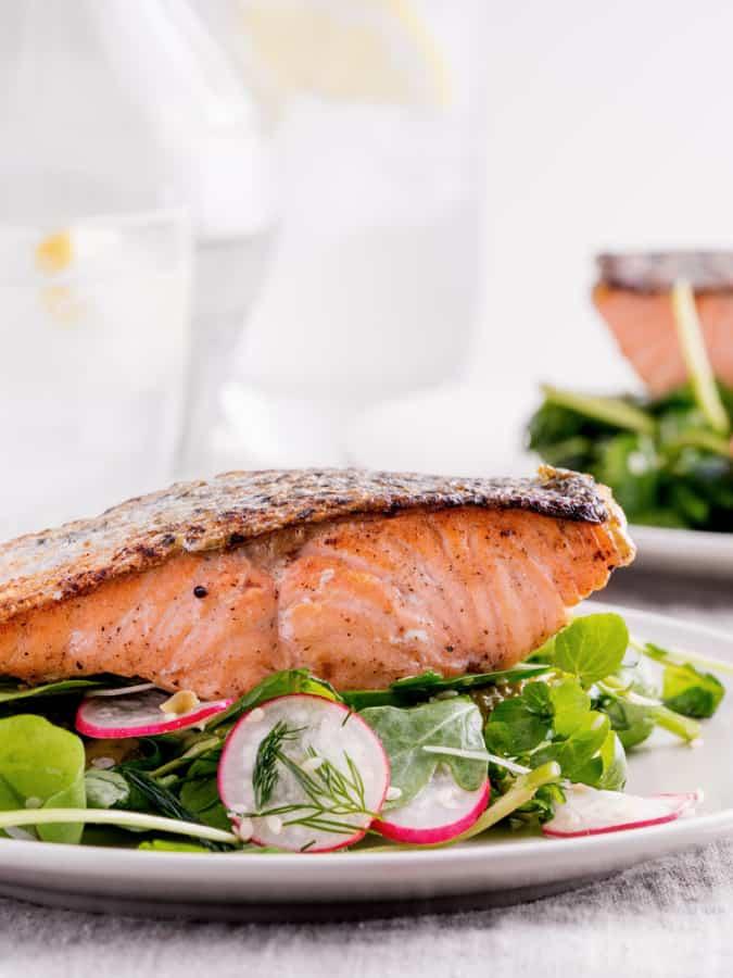 salmon arugula salad up close side picture