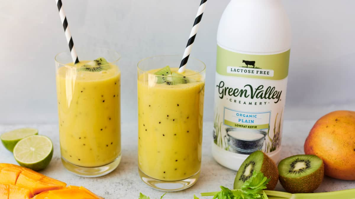 probiotic mango kiwi kefir lime smoothie with green valley organics kefir for how to improve gut health naturally