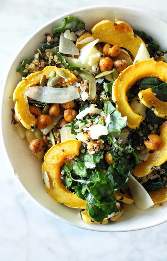 Fall Harvest Salad with Pumpkin Vinaigrette and seasonal produce in white bowl