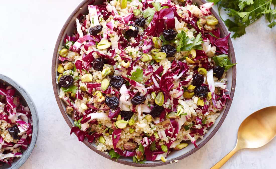 Quinoa Salad with Radicchio, Dried Cherries, and Pistachios
