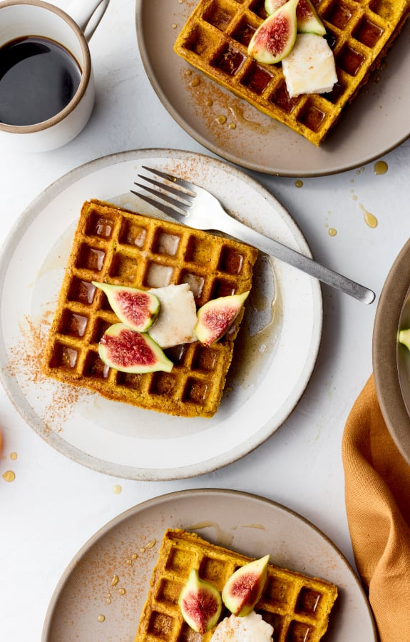 fall recipe vegan pumpkin spice waffles with seasonal produce figs