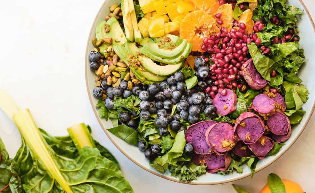 Rainbow Salad with Toasted Pistachio Citrus Vinaigrette packed with vitamins and minerals