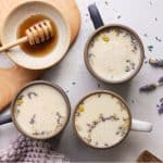 Mugs filled with a Sleepy Lavender Chamomile Milk recipe - PatriciaBannan.com