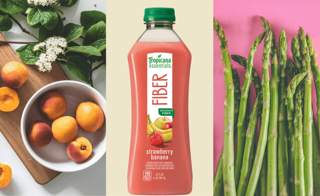 tropicana essentials fiber strawberry banana drink with bowl of apricot and asparagus stalks
