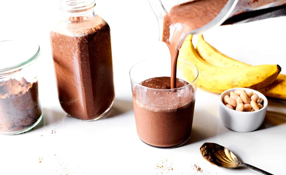 ingredients for creamy chocolate smoothie with banana and cannellini beans