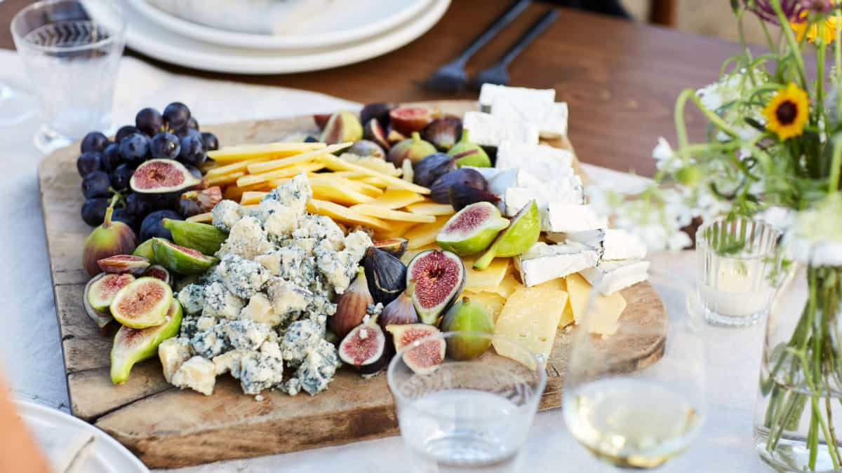 diy cheese board with fruit