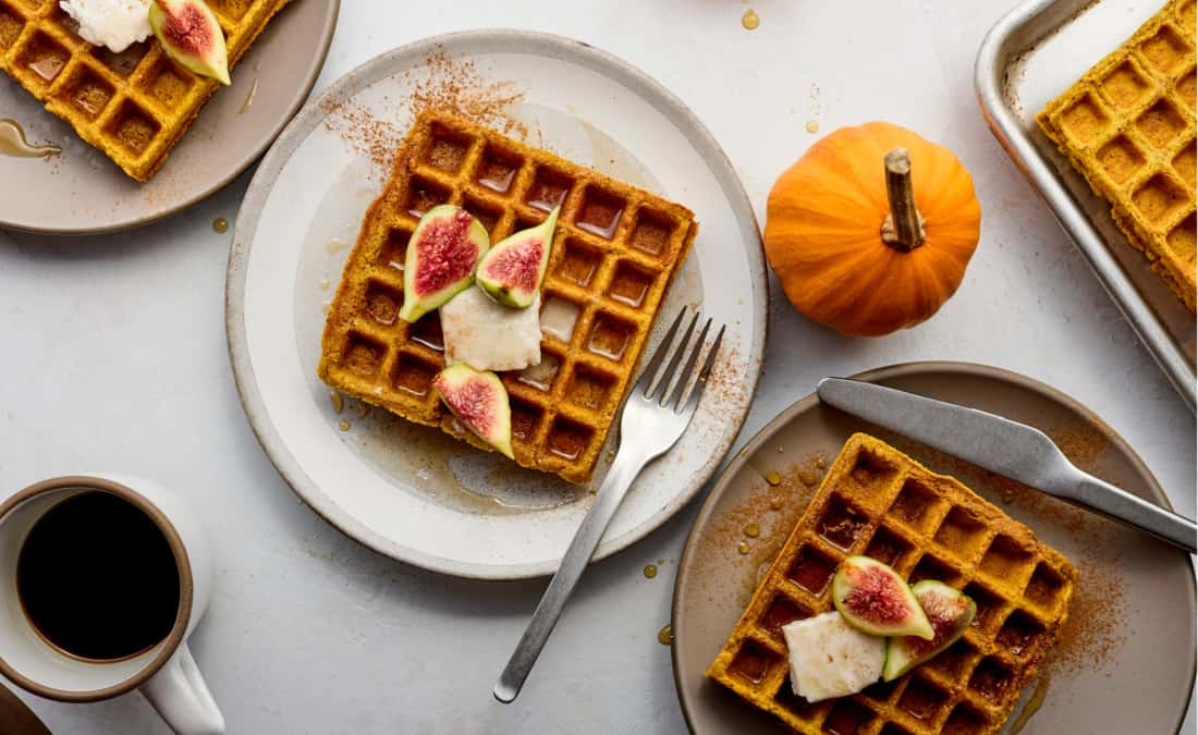 pumpkin spice waffles with fig