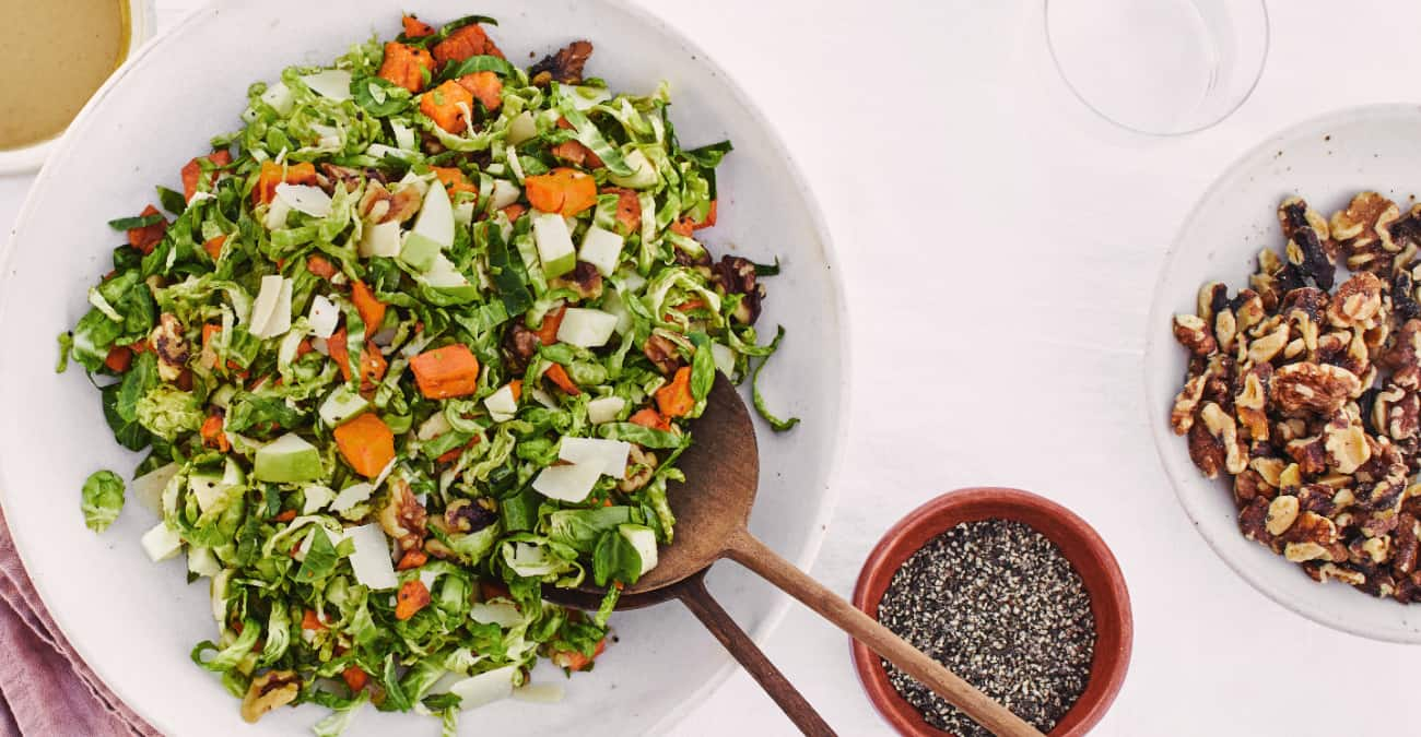 harvest salad with seeds and walnuts