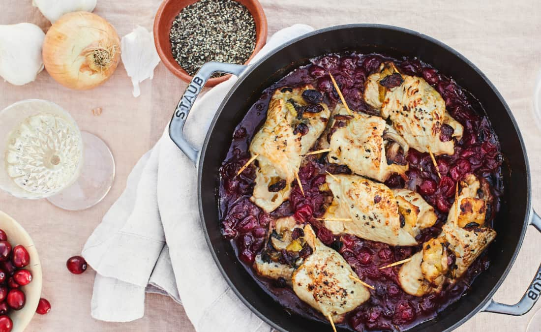 Skillet Turkey Rolls with Spinach, Mushrooms, and Cranberries