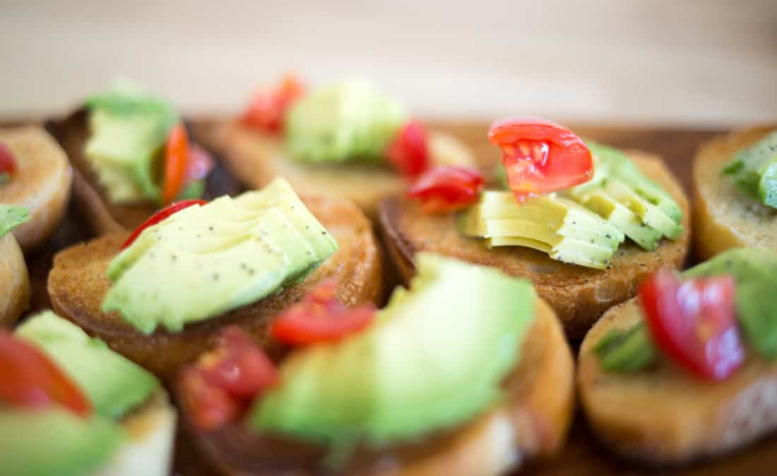 plant based appetizer with mini avocado toasts