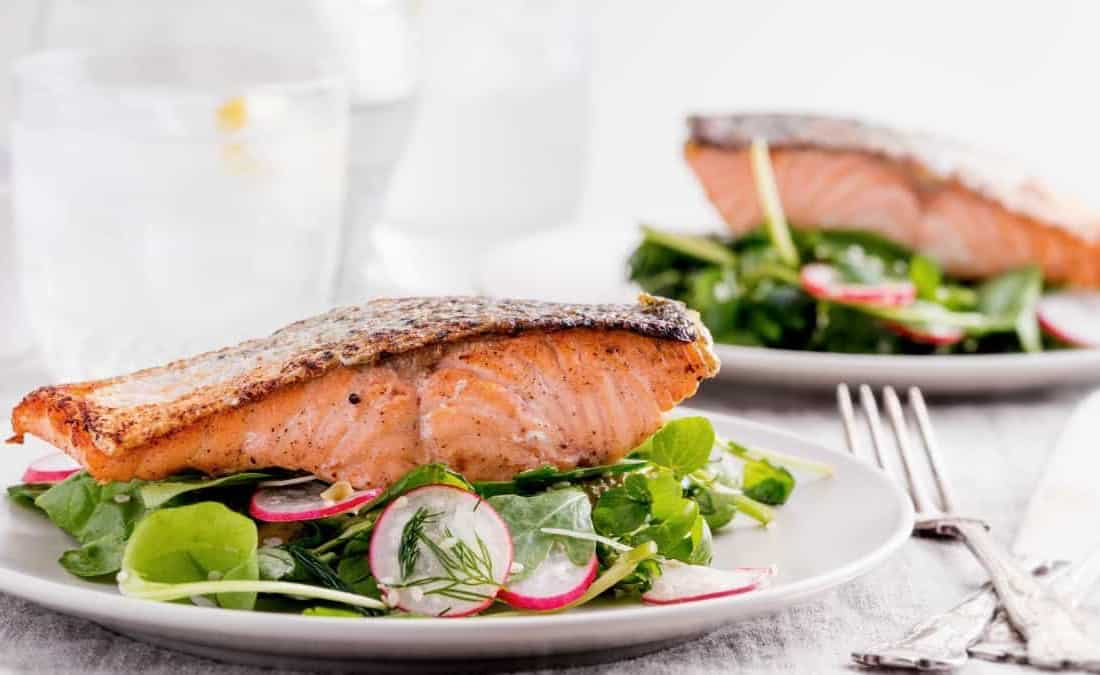 Pan-Seared Salmon on Arugula Salad with Tahini-Citrus Dressing - PatriciaBannan.com
