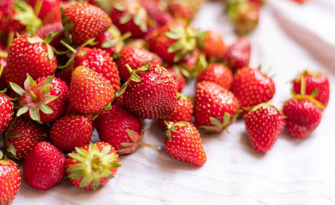 strawberries up close high in vitamin c