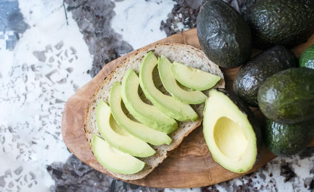 slices of avocado on bread for potassium in avocado