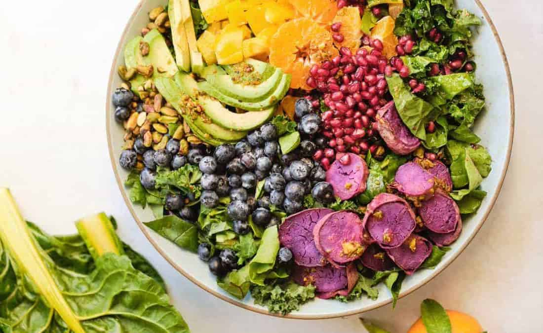 rainbow salad with berries and nuts for foods that help you focus