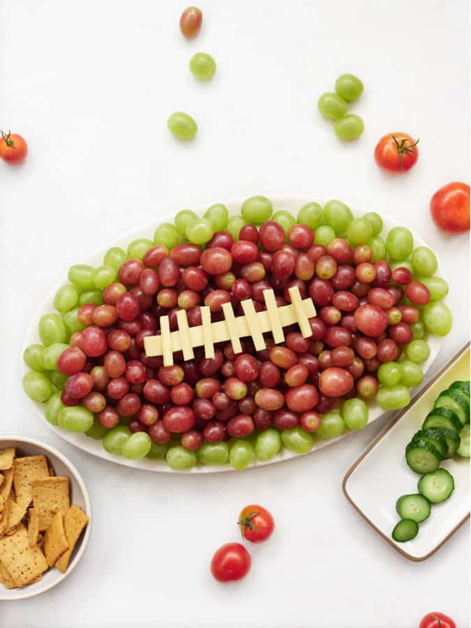 football party tray and grape and cheese platter