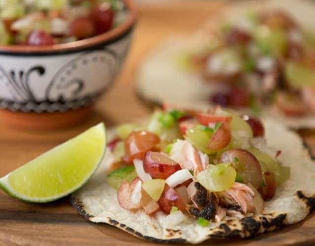 Grilled Salmon Tacos with Grape Pico De Gallo