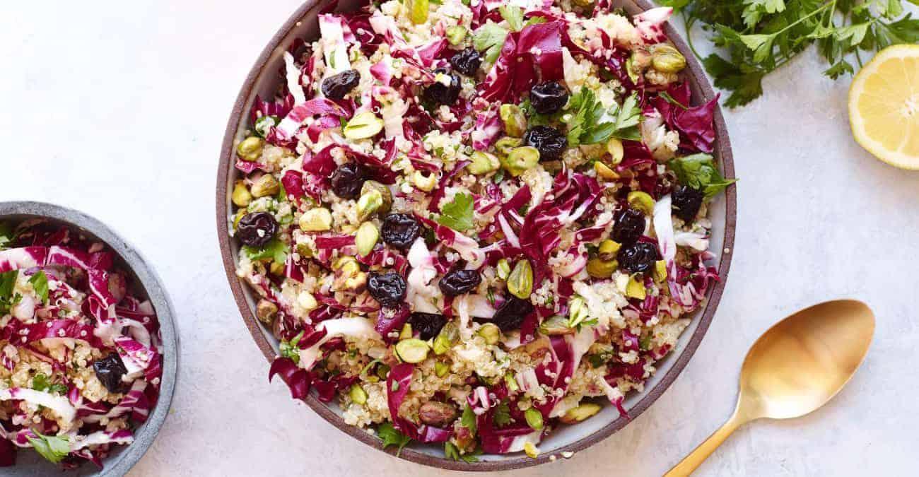 Quinoa Salad with Radicchio, Dried Cherries, and Pistachios