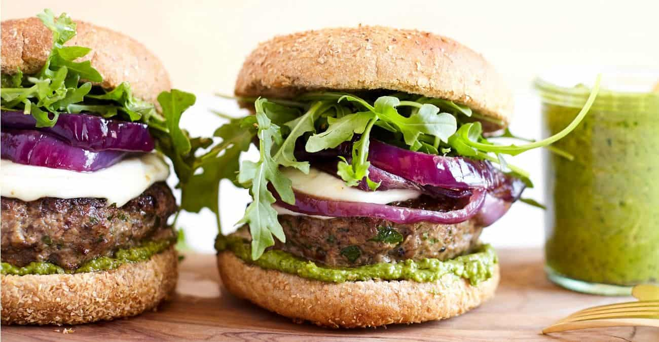 Mushroom Lamb Burger with Basil Avocado Pesto