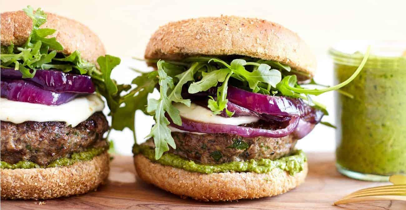 Mushroom Beef Burger with Basil Avocado Pesto