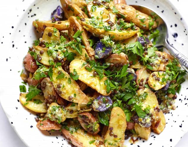 Warm Potato, Leek, and Lentil Salad with Citrus and Herbs