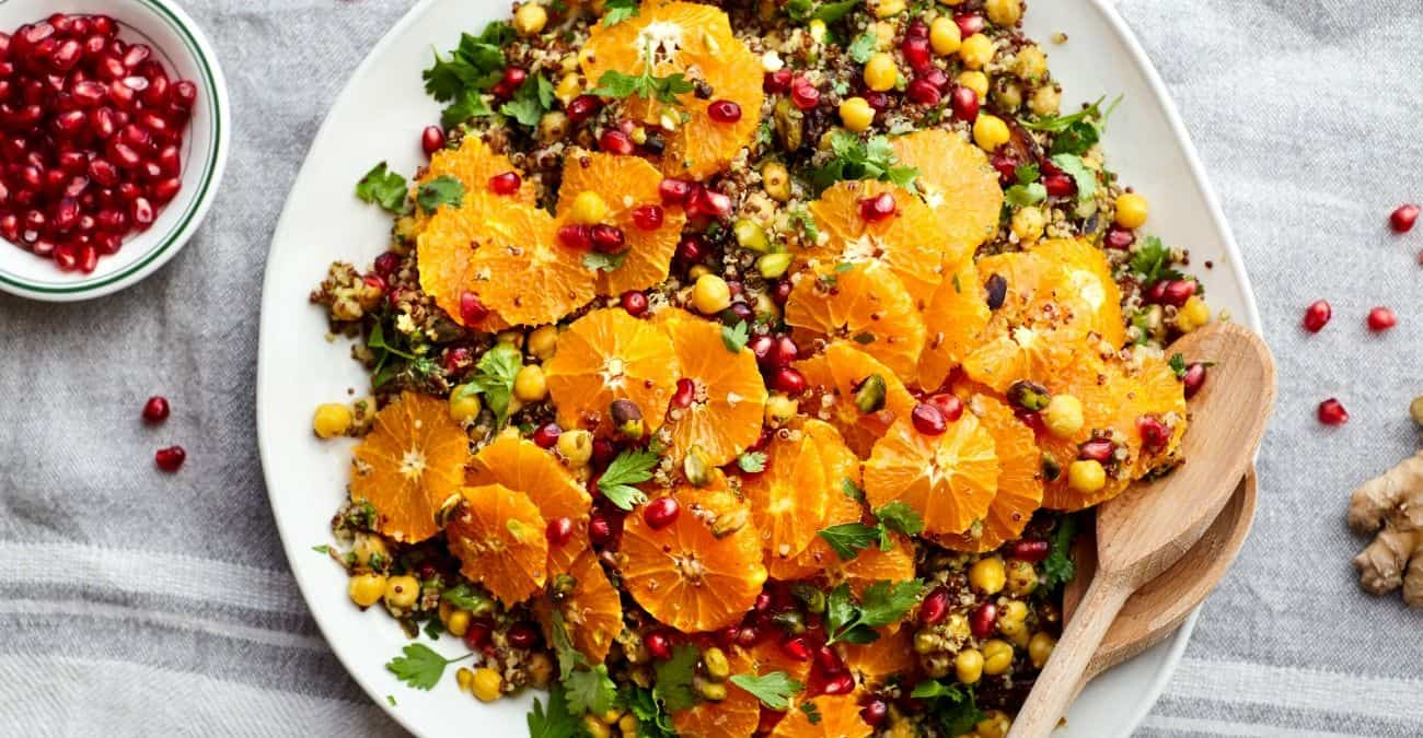 Orange Quinoa and Chickpea Salad with Pomegranate and Tangy Turmeric Dressing