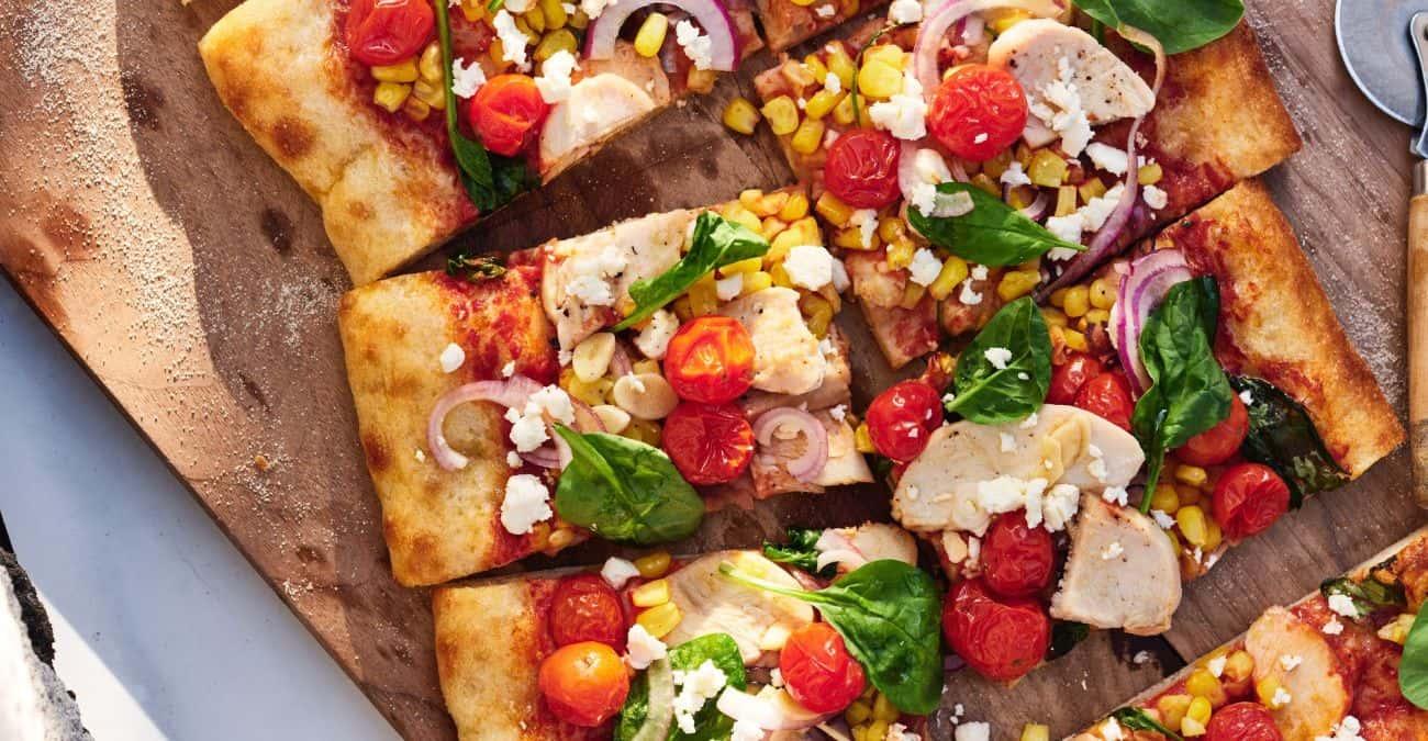 Garlic Roasted Tomato, Corn, and Spinach Flatbread