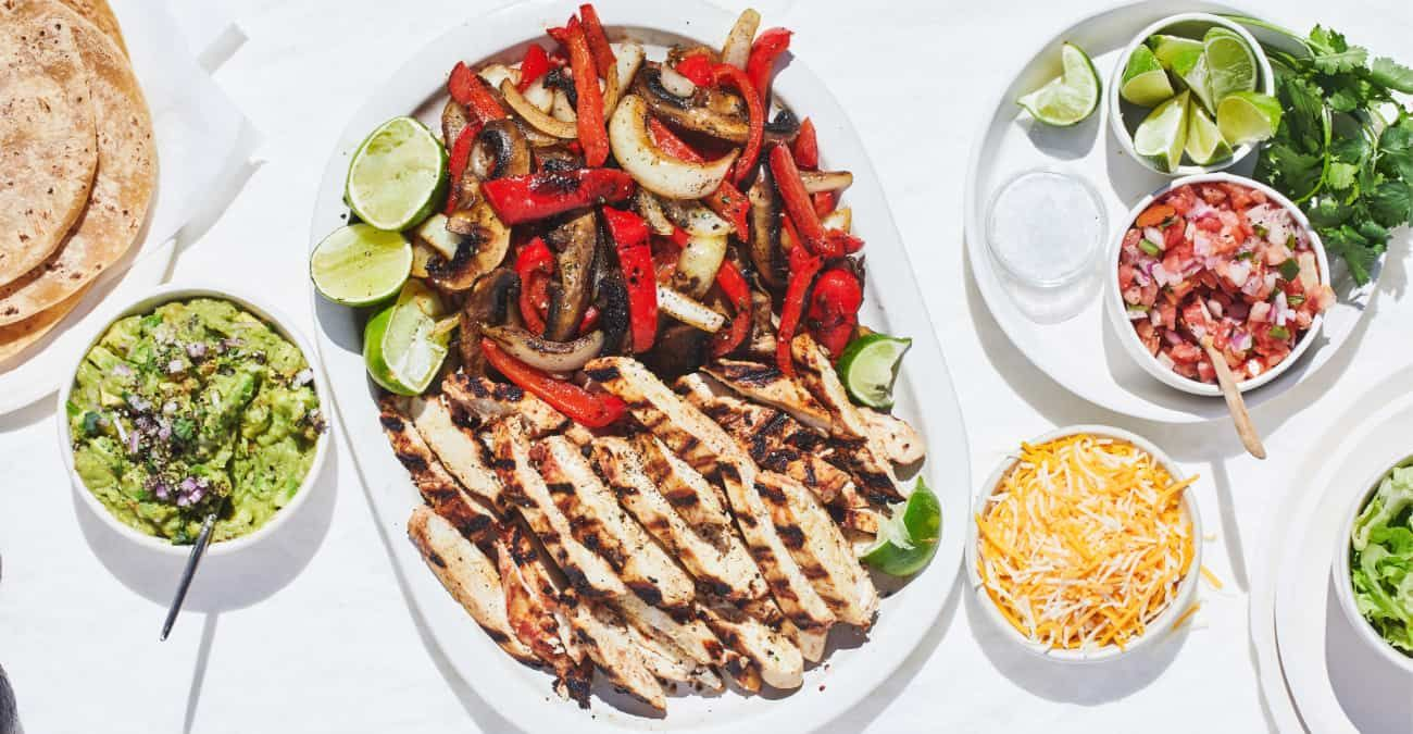 Healthy Grilled Chicken & Mushroom Fajitas