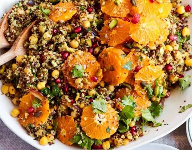 Orange Quinoa Salad with Pomegranate and Tangy Turmeric Dressing