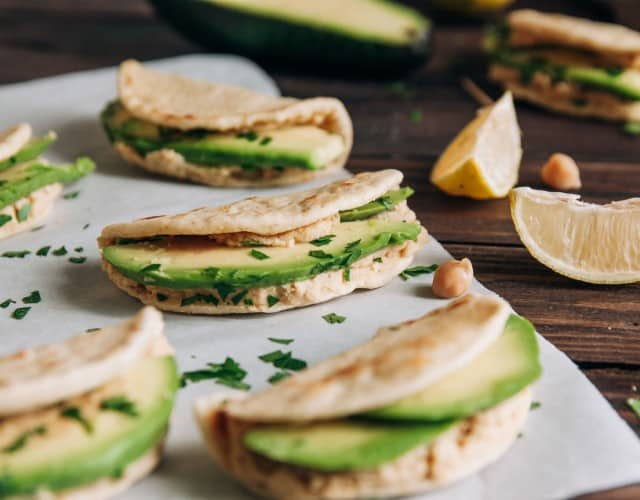 Mini Tacos with Avocado, Hummus, and Lime