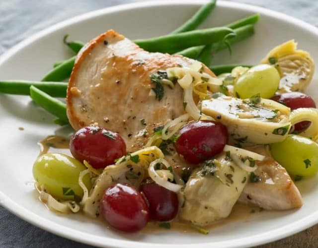 Seared Chicken Breasts with Grapes and Artichokes