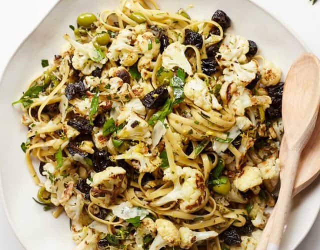 Caramelized Cauliflower Fettuccine Pasta with Prunes, Garlic, and Herbs