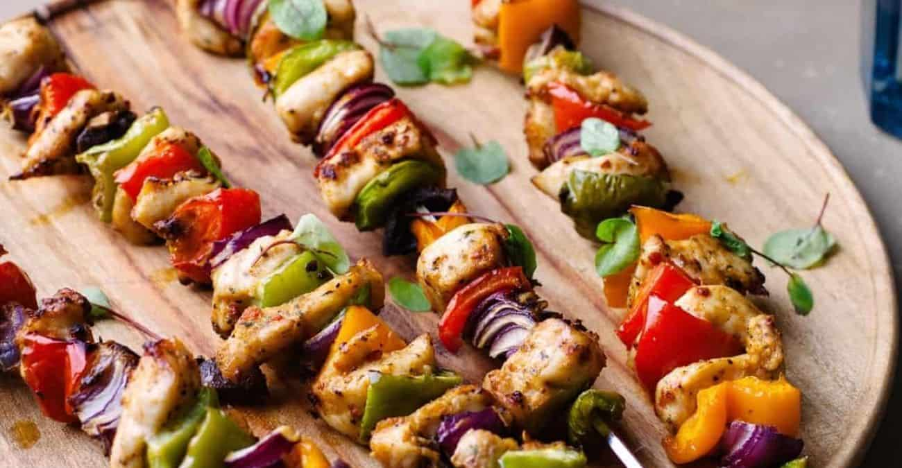 Honey Lime Grilled Chicken and Vegetable Kebabs