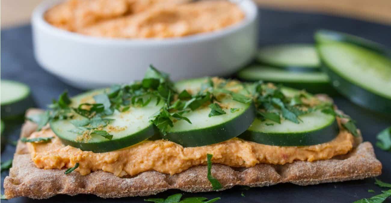 Red Pepper Hummus and Cucumber Crisps