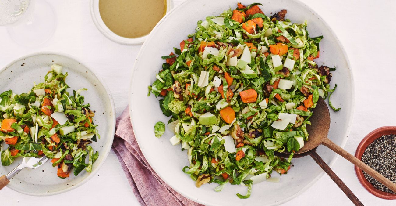 Shaved Brussels Sprouts Harvest Salad with Maple Mustard Dressing
