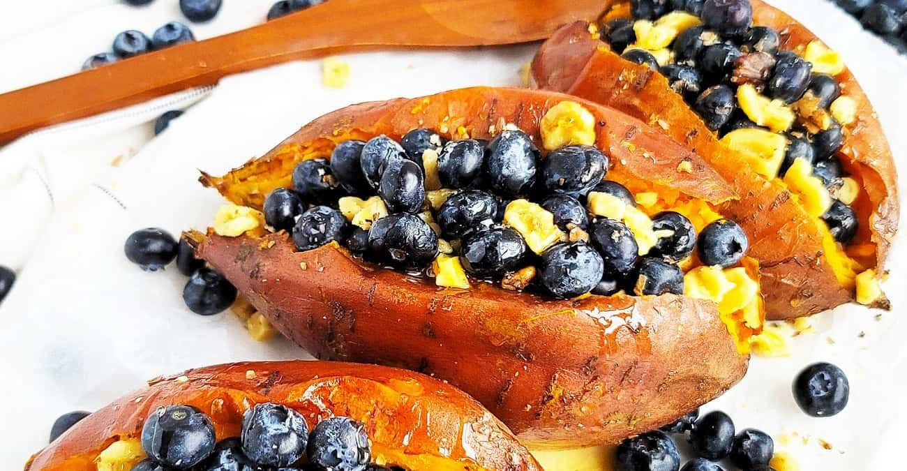 Stuffed Baked Sweet Potatoes with Blueberries & Walnuts