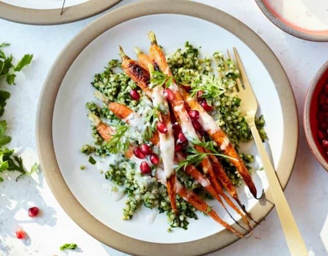 Winter Tabbouleh Salad with Buckwheat, Roasted Carrots, and Orange Yogurt Sauce