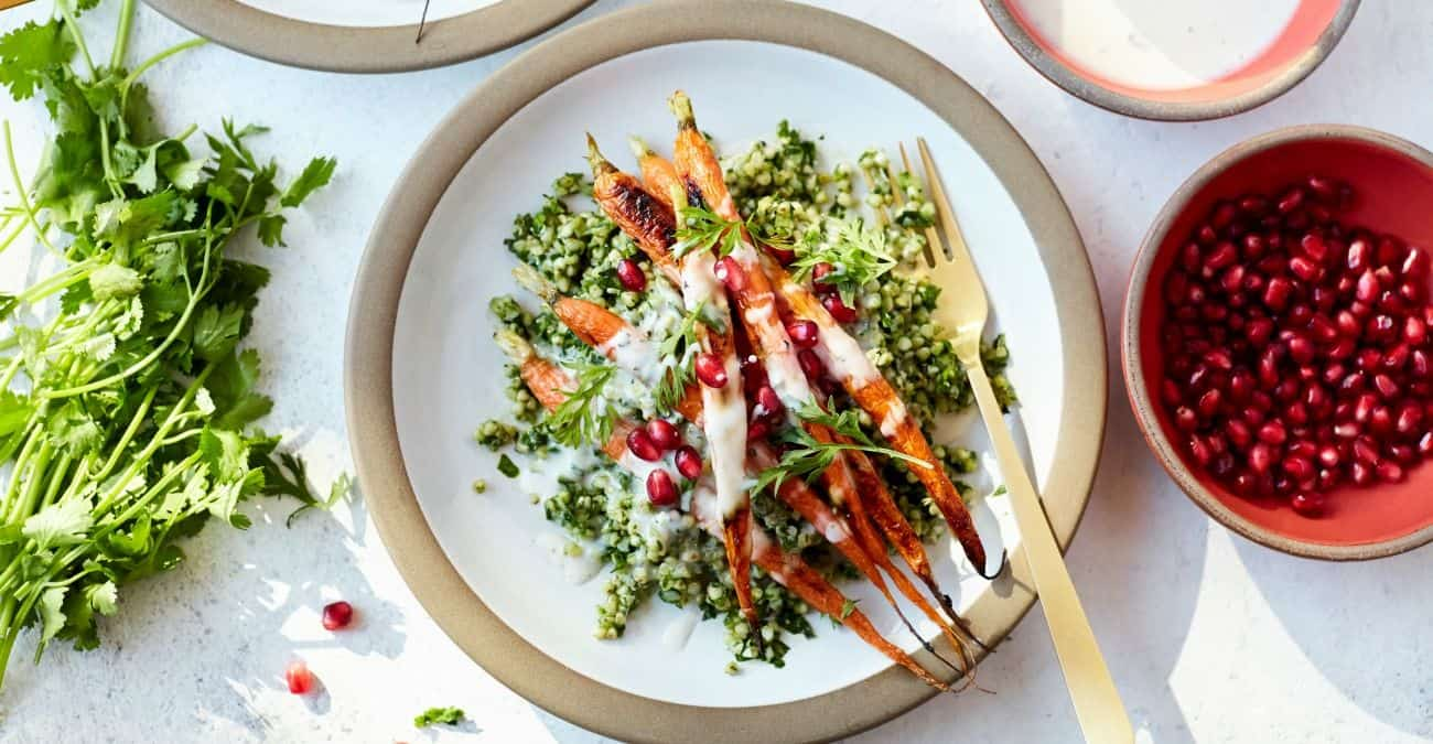 Winter Tabbouleh Salad with Buckwheat, Roasted Carrots, and Orange Yogurt Sauce