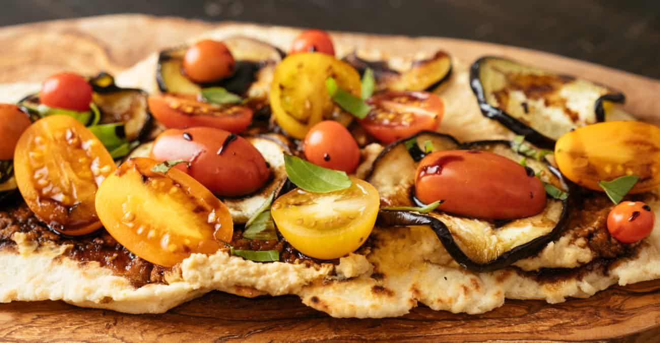 Hummus Flatbread with Eggplant & Tomatoes