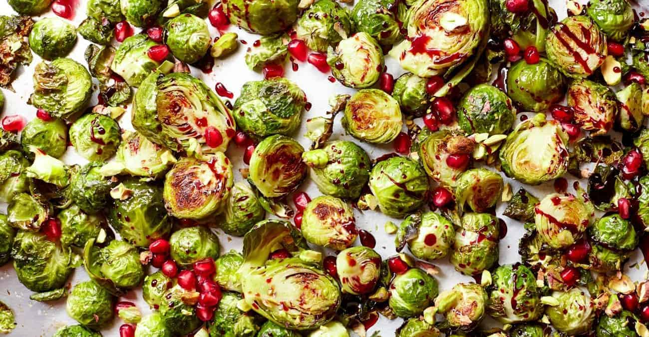 Pomegranate Glazed Brussels Sprouts with Pistachios