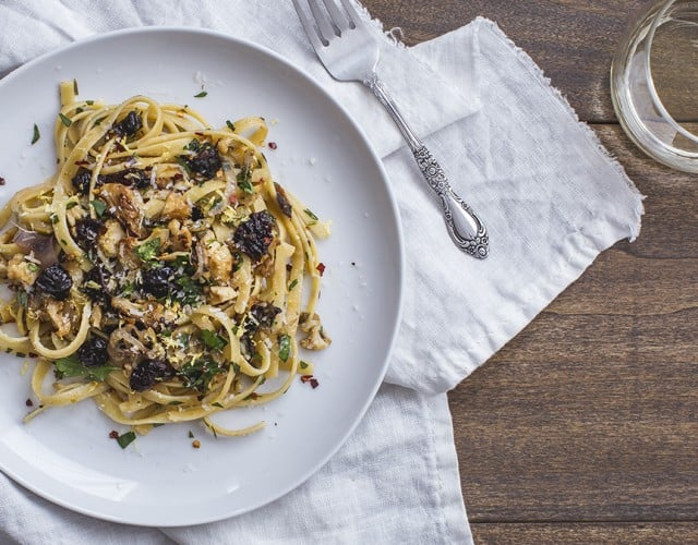 Caramelized Cauliflower Fettuccine Pasta with California Prunes, Garlic, and Herbs
