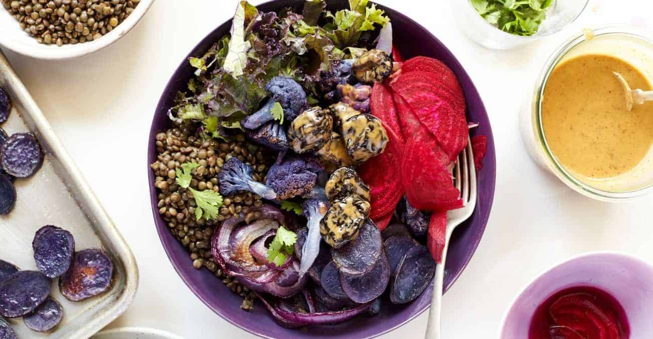 Purple Power Bowl with California Prunes and Spiced Vinaigrette Dressing