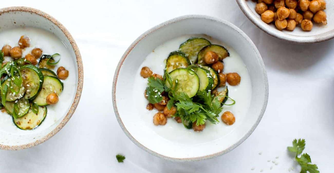 Ginger-Tahini Yogurt Bowl with Zucchini and Chickpeas