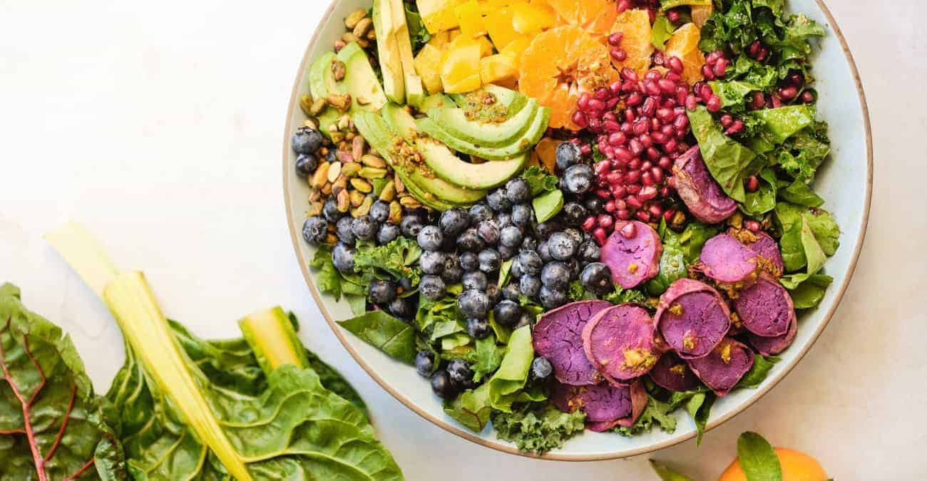 Rainbow Salad with Toasted Pistachio Citrus Vinaigrette