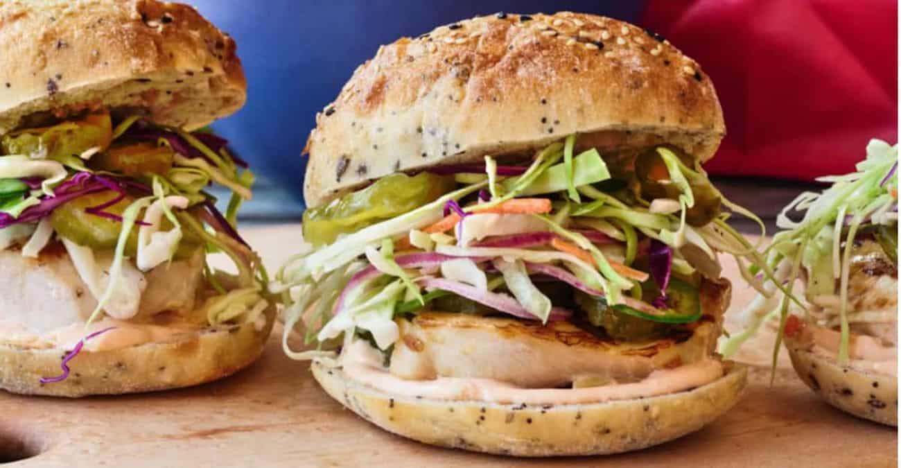 Grilled Chicken Sandwiches with Slaw and Spicy Mayo